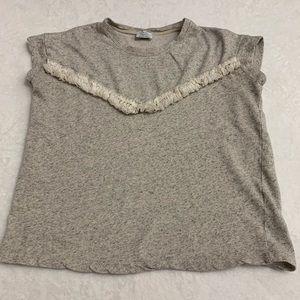 Zara Trafaluc Short Sleeve Mini Fringes Top